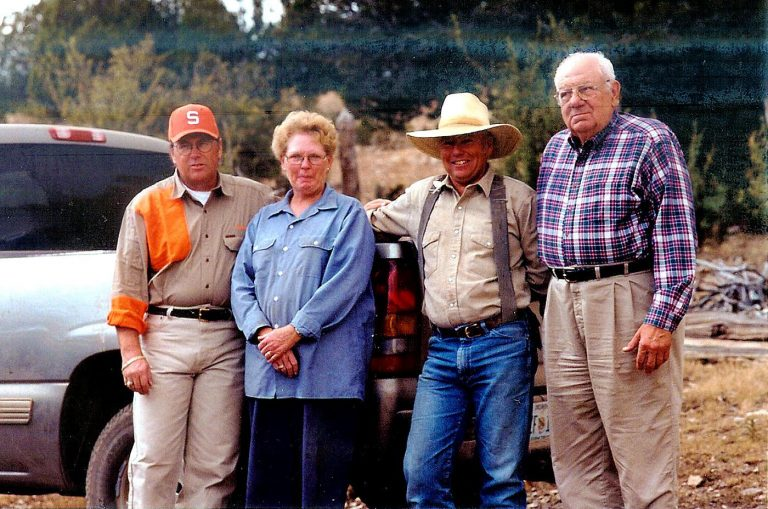 Gunner Henderson (left), Bernice (Van Cleve) Kniepkamp (left-center), husband Rick Kniepkamp (right-center) and Henderson's hunting buddy, Medal of Honor recipient Hector Cafferata. Muzzle loader mule deer hunt at the Van Cleve Ranch, Pinon, NM 2002. Henderson's longtime friend, Hector Cafferata, received the Medal of Honor for his valor above and beyond the call of duty at the Chosin Reservoir during the Korean War. Hector passed away in 2016.