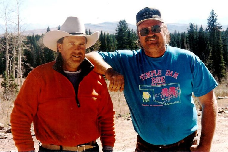 Elk hunting in 1999 near Telluride, Colorado with Gunner Henderson and brother Jim Henderson (right). In 2017, Jim Henderson passed away from ALS.
