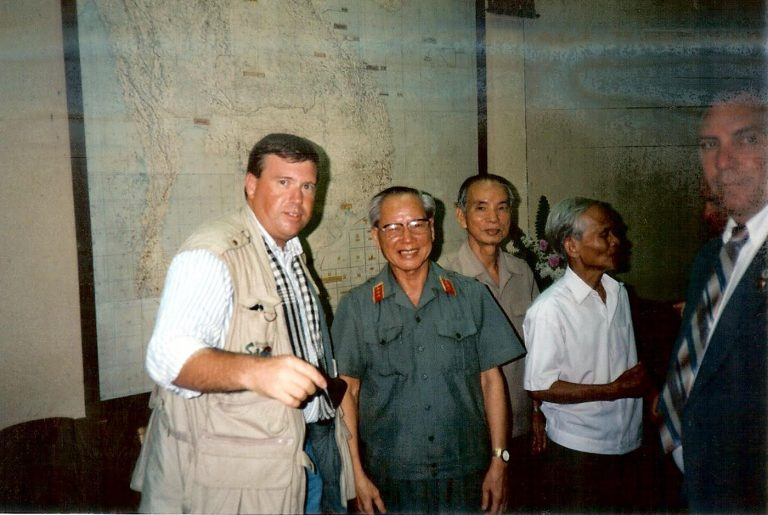 In Ho Chi Minh City (Saigon), Viet Nam 1994, Gunner Henderson with General Tran Van Tra, Commander in Chief of the Viet Cong armies and Vice Commander in Chief of the North Vietnamese Army. Compiling research for his award winning book, Goodnight Saigon, Henderson conducted exhaustive research and interviews with not only the leadership of the North Vietnamese forces and Viet Cong, as well as the South Vietnamese and American forces, but also hundreds of hours of interviews with the soldiers who fought the battles on both sides.