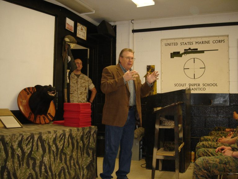 Speaking to Scout-Sniper class at the US Marine Corps Scout-Sniper Instructor School, Quantico, VA—2009