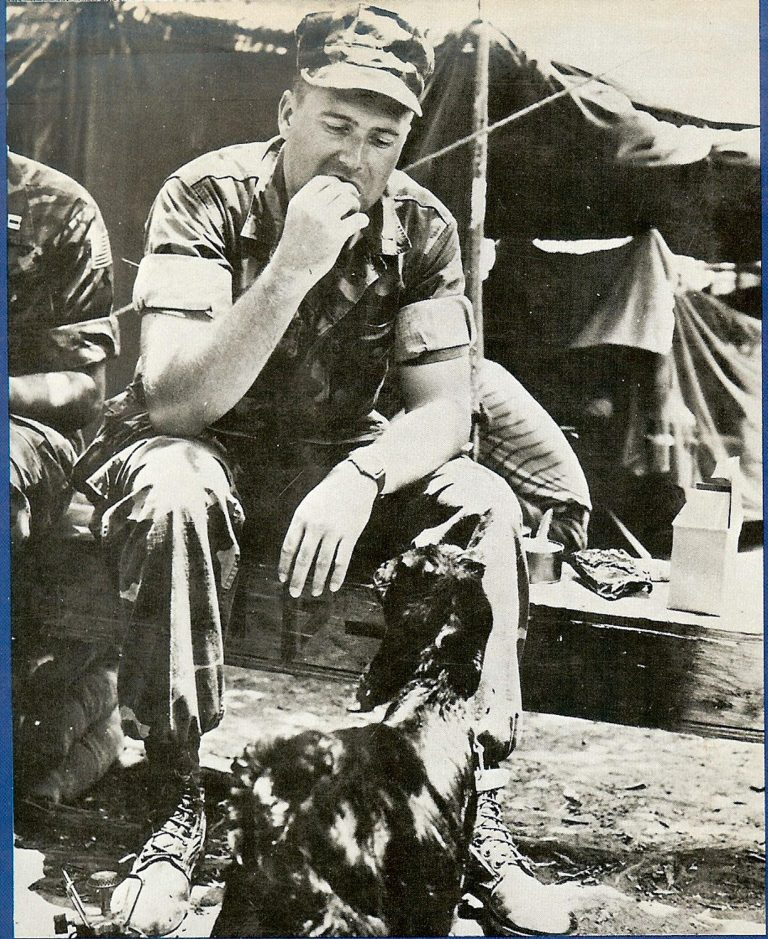 Chow Time—Gunner Henderson eating lunch with General Billy, 22nd Marine Amphibious Unit camp goat, Beirut 1983